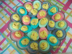 Pastel Deviled Eggs  http://dishinitup.blogspot.com/2012/03/easter-deviled-eggs.html