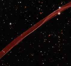 A ribbon of gas, a very thin section of a supernova remnant caused by a stellar explosion that occurred more than 1,000 years ago, floats in our galaxy. The supernova that created it was probably the brightest star ever seen by humans.