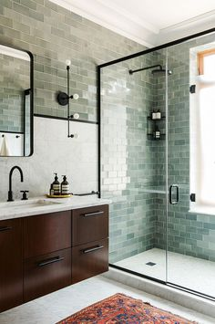 Green tile is trending in interior design. Here are 35 reasons why we can't get enough green tile. For more interior design trends and inspiration, visit domino. Bathroom Renovation, Bathroom Trends, Bathroom Decor, Amazing Bathrooms, House Bathroom, Bathrooms Remodel, Beautiful Bathrooms, Tile Bathroom, Bathroom Design