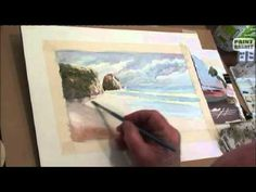 http://www.paintbasket.com - How to paint a seascape in watercolor    Lesson 4 from our free watercolor painting course held on Paint Basket TV. In this class, conducted by Dennis Clark, you will learn :    1) How to use the wet in wet technique  2) How to use the wet on dry technique  3) How to use sponges, candles and tooth brushes to create awesome...