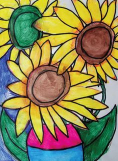 """Vincent Van Gogh Sunflowers"" by Hannah Crosby, Grade 2, at Rotella Interdistrict Magnet School in Waterbury, CT. This piece of art was used as the cover of the Sax 2014 Art Spring Sale catalog."