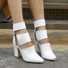High-End Women's Shoes Leather Hollow Out Ankle Boots Block High Heels Point Toe #Unbranded #FashionAnkle