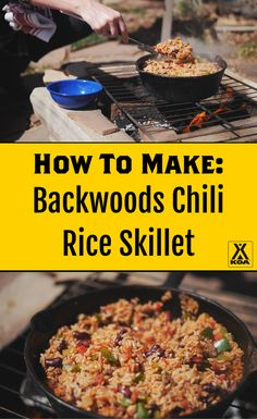 Learn to make a KOA camping recipe favorite – Backwoods Chili Rice Skillet Best Camping Meals, Camping Dishes, Camping Cooking, Rv Camping, Camping Hacks, Camping Equipment, Family Camping, Camping Ideas, Dutch Oven Cooking