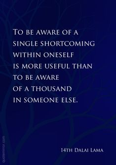 To be aware of a single shortcoming within oneself is more useful than to be aware of a thousand in someone else.  –14th Dalai Lama #attitude #reflection http://quotemirror.com/s/y5lu0