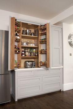 Larder unit with toaster Kitchen Larder, Larder Cupboard, Kitchen Dresser, Kitchen Worktop, Kitchen Cupboards, New Kitchen, Kitchen Storage, Kitchen Ideas, Door Storage