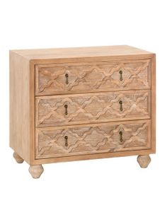 "STONE WASH, ACACIA VENEER, BRONZE HARDWARE   W:32"" D:19"" H:28.5""    FEATURES & BENEFITS Bronze metal decorative dangle hardware Solid wood turned feet Raised drawer front detail Zinc Allow Hardware"
