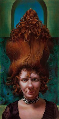 """Ode To Hair"" - Jennifer Knaus, egg tempera with oil glazes on panel, 2009 {contemporary figurative surreal art female redhead woman face portrait painting} jenniferknaus.com"