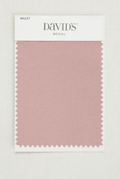 """Available in all of David's Bridal's exclusive colors, our fabric swatches make it easy to pick your palette and coordinate your whole day.  Fabric swatch shown in Ballet  Mesh: Lightweight, stretchy, and comfortable  Satin: Lustrous, timeless, and elegant  5.5""""L, 3.5""""W  Ships for free"""