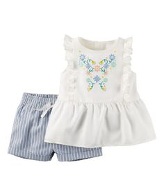 Carters White Floral Embroidered Peplum Tunic & Blue Shorts - Infant | zulily