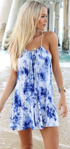 blue & white tie dye dress
