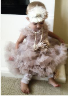 Champagne Chiffon Baby Girl Dress Full and Fluffy by LovCouture, $89.00