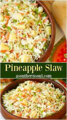 Pineapple Slaw is sweet and crunchy with a light dressing that will having you feeling like its summertime with every single bite! This quick and easy recipe is great to serve as a side dish take to a covered dish supper and is a must at any backyard BBQ. Healthy Recipes, Vegetarian Recipes, Cooking Recipes, Vegetable Salad Recipes, Cabbage Salad Recipes, Cooking Beets, Cooking Pork, Pineapple Coleslaw, Bbq Pineapple
