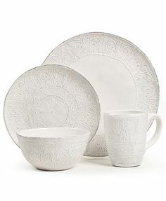 "Maison Versailles Dinnerware, Blanc Colette Collection - one of 3 sets of dishes at Macy's we mixed & matched to make the perfect ""country eclectic"" table setting"