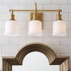 Well Appointed Bath Light - 3 Light - - A gooseneck pivoting arm in solid cast brass, a white opal glass tumbler shade, precision restoration fittings, and exquisite finishes make this collection a clear winner. Brass Bathroom Fixtures, Bathroom Vanity Lighting, Bathroom Styling, Bathroom Red, Light Bathroom, Bathrooms, Bathroom Ideas, Master Bathroom, Bath Ideas