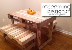 Pallet dining table and benches. Www.facebook.com/redeemingdesignstn #redeemingdesignstn@gmail.com #pallet #pallets #upcycle