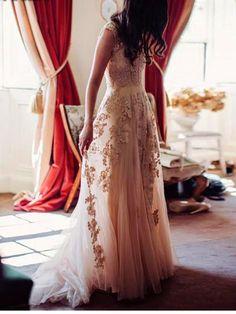 Long Prom Dress, Champagne Prom Dress, Prom Dress With Appliques, Vintage Prom Dress, 2017 Prom Dresses. PD2100523