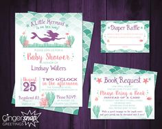 A Little Mermaid is on the Way Baby Shower Invitation Set. Designed by Lauren Hussong of Gingersnap Graphics