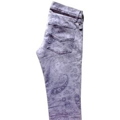 Pre-owned Jeans (1.810 ARS) ❤ liked on Polyvore featuring jeans, purple skinny jeans, super skinny jeans, skinny jeans, patterned jeans and skinny leg jeans