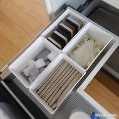 100均セリアの白色洗剤ケースの収納ブログ画像 Cube, Storage, Interior, Kitchen, Room, Purse Storage, Bedroom, Cooking, Indoor
