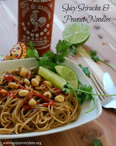 Spicy Sriracha & Peanut Noodles from Enjoy Every Bite