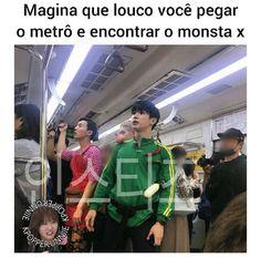 Minha cidade nem tem metrô KKKKKKKKKKKK (cada k é uma lágrima) Kid Memes, Funny Memes, Monsta X, Kihyun, Hyungwon, Kdrama Memes, Kpopper, Got7, City