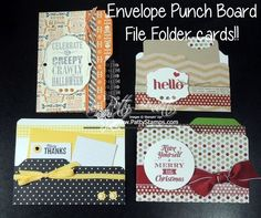I found this on stampinup.com and I really love this idea!!! I've made my own folder cards or mini folders for other projects in the past but this envelope maker makes it easier!!!