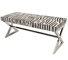 Zebra Hide and Polished Nickel Bench - Clayton Gray Home