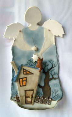 """автор : Светлана Виноградская; настенная картина; материал: керамика (фаянс); """"ночной ангел"""""""