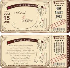 Einladungskarten zur Hochzeit • Vintage • Eintrittskarte • Ticket • Karte