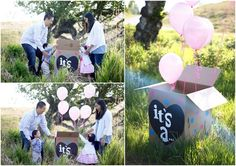 Twin siblings gender reveal family photography pregnancy announcement. All by Photography By Jenna. :)