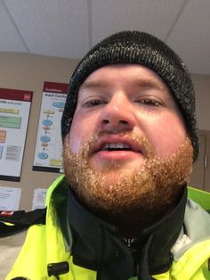 Work outside in the Canadian winter and you're going to get some ice in your beard :)