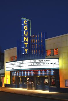 The County Theater shows independent movies.  It has the old theater feel, but is clean and comfortable.