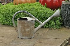Vintage watering can - metal can with rose:  made by BAT 2.5 gallon.