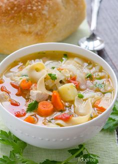 Chicken Noodle Harvest Vegetable Soup Recipe -- Healthy 30 minute comforting soup with a slow cooker option. #crockpot #slowcooker #cleaneating
