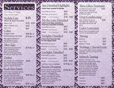 Beautifully designed menus and price lists for salons   salon ...