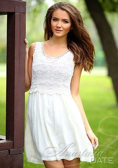 Dating girl Russian: Eugenia from Dnepropetrovsk, 20 yo, hair color Black Dating Girls, Hair Color For Black Hair, Color Black, White Dress, Lady, Projects, Dresses, Fashion, Log Projects