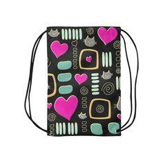 Love Cats Small Drawstring Bag Model 1604 (Twin Sides) 11 Small Drawstring Bag, Drawstring Backpack, Diaper Bag, Twins, Backpacks, Models, Cool Stuff, Cats, Templates