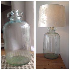 Recycled Demi-john vase. DIY lamp