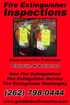Fire Extinguisher Inspections Platteville, WI (262) 798-0444.. Local Wisconsin Businesses you have found the complete source for Fire Protection. Fire Extinguishers, Fire Extinguisher Service.. We're got you covered.. Great Lakes Fire Protection
