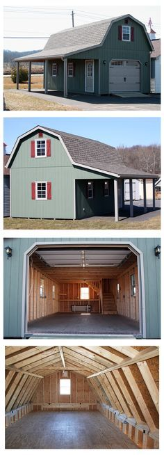 "The gambrel (""barn style"") roof maximizes storage space on the upper level. Plenty of room inside - clearance on the lower level. of overhead clearance on the second floor! (Gambrel Shed Plans) Plan Garage, Garage Loft, Shed Plans, House Plans, Cabin Plans, Prefab Garages, Gambrel Barn, Gambrel Roof, Casa Patio"