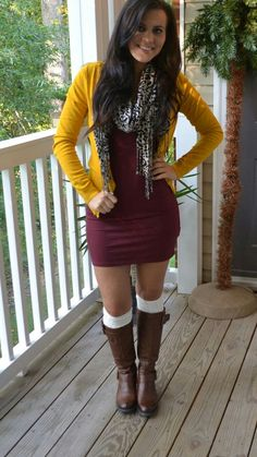 52 university outfit ideas you'll want to steel this winter Fall Winter Outfits, Autumn Winter Fashion, Winter Style, Casual Skirt Outfits, Cute Outfits, Dress Outfits, Dresses With Boots Fall, Burgundy Dress Outfit, University Outfit