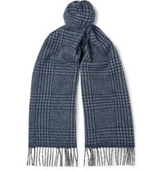 // Drake's Prince Of Wales Checked Wool And Angora-Blend Scarf