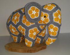 Nellie the Elephant African Flower pattern by Heidi Bears