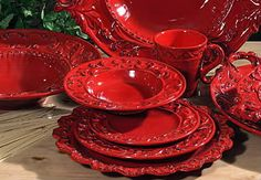 Tuscan Horchow Intrada Baroque Red Dinnerware 16 PC Set | eBay