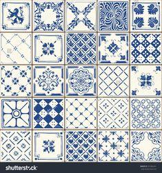 Indigo Blue Flower Azulejos Pattern Lisbon Set Paint Tile Floor Oriental Spain Collection Seamless Pattern Portugal Geometric Ceramic Design Tile Vintage Illustration background Vector Texture Pattern by carmela Patchwork Tiles, Patchwork Patterns, Tile Patterns, Textures Patterns, Texture Seamless, Tiles Texture, 3d Templates, Keramik Design, Painting Tile Floors