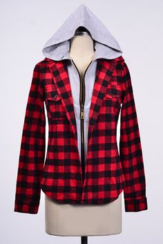 ZIPPER CLOSUER HOODED CHECK TOP W/ FRONT POCKETS 60%COTTON,40%POLY