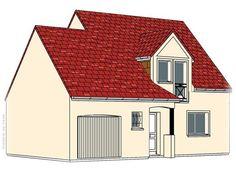 Modèle PC-50  Pavillon avec garage comprenant cuisine, séjour, hall, WC et 1 cellier au rez-de-chaussée. 3 chambres, salle de bains à l'étage.  Surface Habitable : 89,30m²