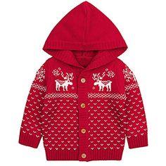 e0dfd74def140 Kolylong Manteau de Noël hvier Chandail à Capuche Retro Unisexe Enfants  bébé Filles garçons Bambin Tenue