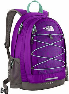 purple and turquoise north face backpack