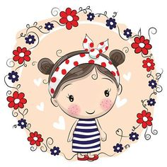 Illustration about Cute Cartoon Girl with a bow and ladybug. Illustration of cutie, content, background - 75671747